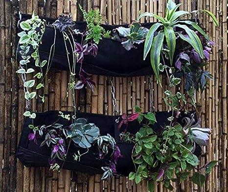 2 bolsas de fieltro para colgar macetas de jardín con 4 bolsillos ...