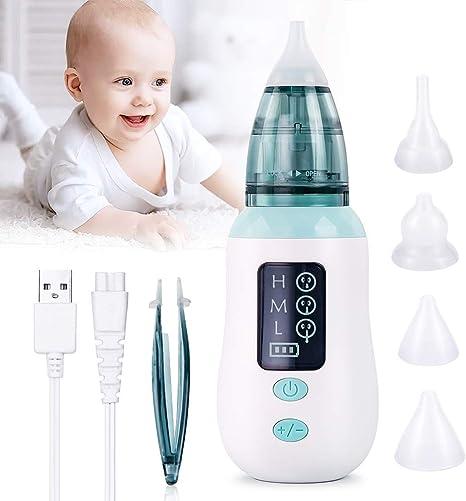 Aspirador nasal, aspiradores de nariz eléctricos para bebés, limpiador de mocos de 3 niveles de succión, removedor de cerumen Pantalla LCD 4 puntas de silicona reutilizables para bebés bebés: Amazon.es: Bebé