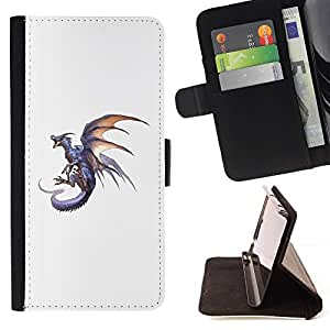 Momo Phone Case / Flip Funda de Cuero Case Cover - Dragón de Fuego Gris Flying Wild Animal Mítico - Samsung Galaxy A3
