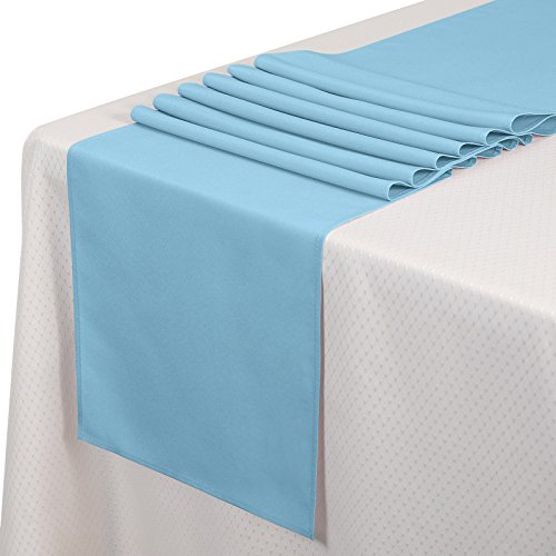 VEEYOO 10 Pieces 14x108 inch Polyester Table Runner for Restaurant Kitchen Dining Wedding Party Banquet Events, Baby Blue