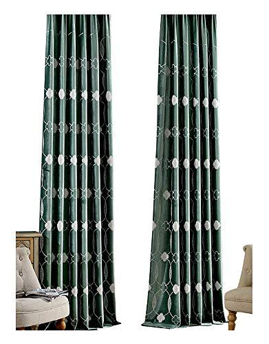 BW0057 Modren Kids Room Embroidery Italian Velvet Rod Pocket Curtain Panel Window Treatment Drape for Living Room Bedroom and Dining Room(1 Panel, W 50 x L 102 inch, Green)