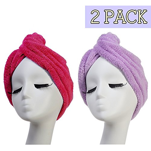 Unique Pink Coral (Microfiber Hair Turban Towel,AuroTrends Super Absorbent Hair Towel Wrap Cap Turban,2-Pack Unique Design (Hot pink+Light violet))