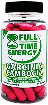 Full-Time Energy Garcinia Cambogia Plus Raspberry Ketones and Green Coffee Bean Extract Weight Loss Supplement, 60 Capsules