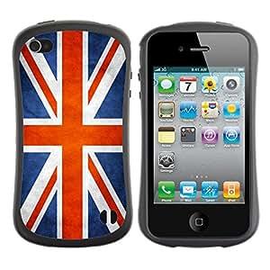 Suave TPU Caso Carcasa de Caucho Funda para Apple Iphone 4 / 4S / National Flag Nation Country Great Britain UK / STRONG