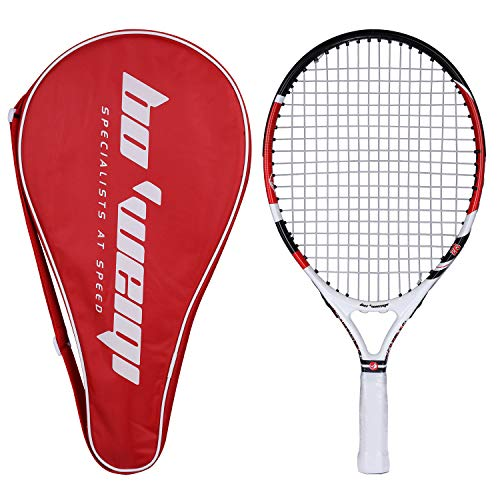Fostoy Junior Tennis Racket, Tennis Racquet Kids Racket with Storage Bag Perfect for Boys&Girls Sports Training(19.7in) (red)