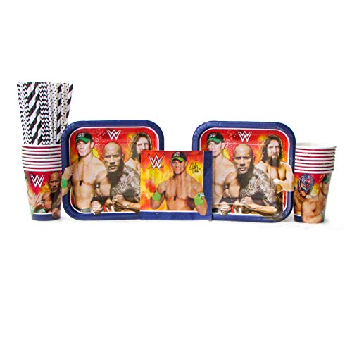 WWE Party Pack for 16 Guests - Straws, Dessert Plates, Beverage Napkins, and Cups