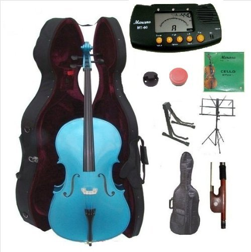 Merano 4/4 Size Blue Cello with Hard Case, Bag and Bow+2 Sets of Strings+Cello Stand+Black Music Stand+Metro Tuner+Mute+Rosin