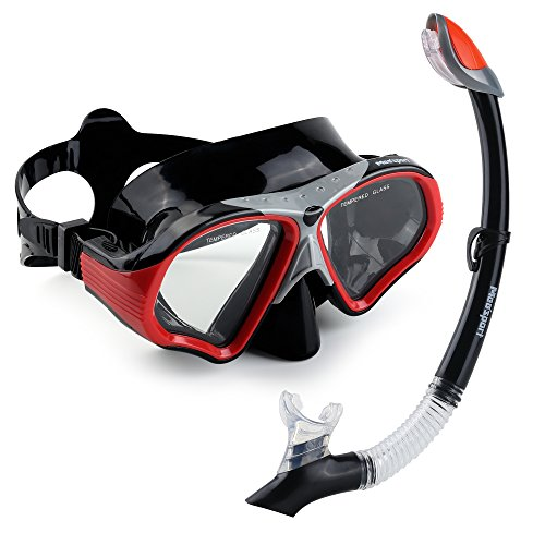 Mee'sport Scuba Diving Mask & Dry Snorkel Set, Tempered Glass Diving Mask Anti-Fog Lens Dry Top Snorkel with Purge Valve Scuba Dive Mask Snorkel for Adult Men Women Boys Girls(Black) (Purge Valve Mask Dive)