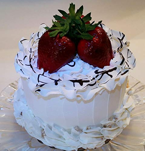 Dezicakes Fake Cake Vanilla Cream Strawberry Cake with Chocolate Faux Cake- Fake Food Decoration 6