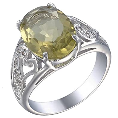 Sterling Silver Lemon Quartz Ring 5 CT