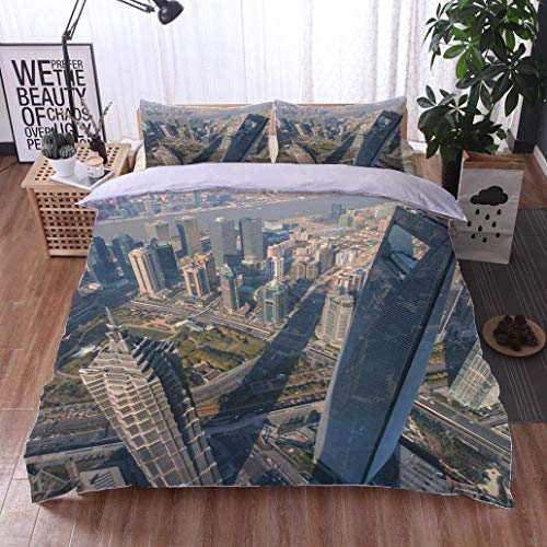 (VROSELV-HOME Full Queen Duvet Cover Sets,Jin Mao Tower and Shanghai World Financial Center viewed from The,Soft,Breathable,Hypoallergenic,100% Cotton Reversible 3 Pieces Kids Girls Boys Bedding Sets)