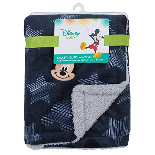 Disney Mickey Mouse Hello World Star/Icon Super Soft Double Sided Velour/Sherpa Baby Blanket, Navy, Grey, White