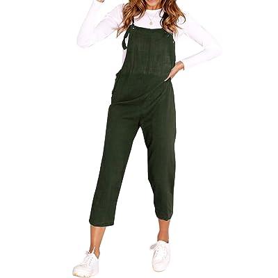 ACHIOOWA Mujer Peto Vaqueros Largo Casual Suelto Bolsillos Tiras Fiesta Pantalones Jumpsuit Suelto Casual Oficina C17168-03 2XL: Ropa y accesorios
