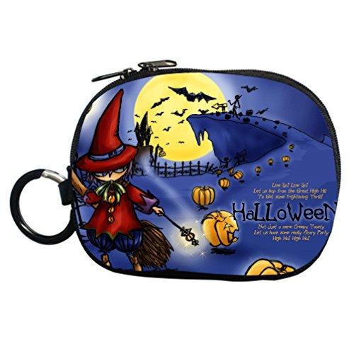 [JIUDUIDODO Custom Cool Halloween Evil Jack with Bat Coin Purse Clutch Handbag for Cash Cellphone Credit Card Make up] (Barbie Costume Makeup)