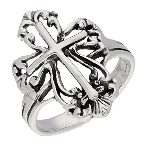 Sterling Silver Victorian Style Open Cross Ring Size 7(Sizes 4,5,6,7,8,9,10)