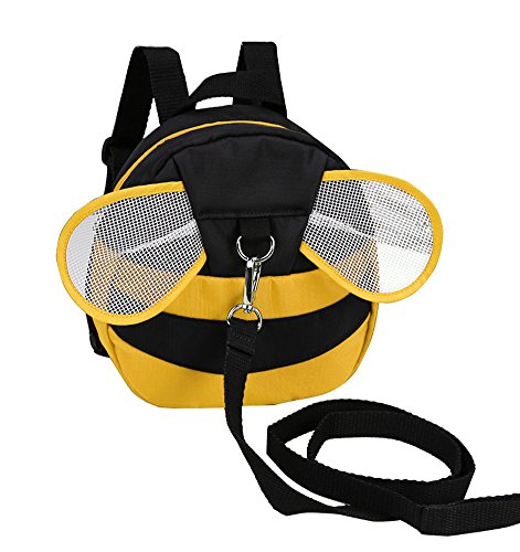 Zicac Toddler Walking Safety Harness Baby Kids Cute Bee Anti-lost Preschool Backpack with Safety Harness (Yellow)