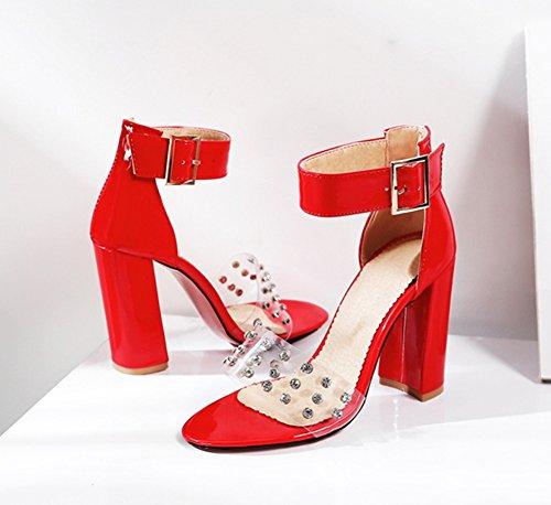 Correas Para Pvc Toe Peep Tacón Transparente Alto Fiesta Sandalias Tobillo 45 Noche Bloque Tamaño De Remache Mujeres Red Rojo Nvxie Zapatos 35 XqPw0
