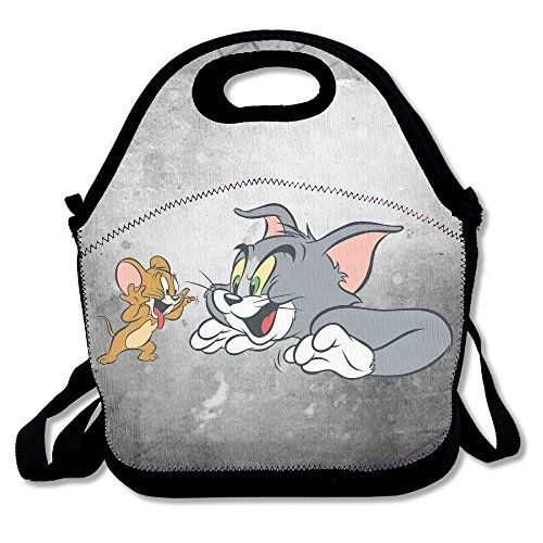 Bakeiy Tom And Jerry Lunch Tote Bag Lunch Box Neoprene Tote For Kids And Adults For Travel And Picnic (College Football Costumes Halloween)