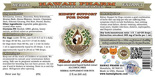 HawaiiPharm Kidney Support for Dogs, Veterinary Natural Alcohol-Free Liquid Extract, Pet Herbal Supplement