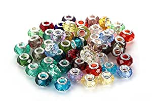 BRCbeads Top Quality 50Pcs Mix Silver Plate FACETED STYLE1 Murano Lampwork European Glass Crystal Charms Beads Spacers Fit Troll Chamilia Carlo Biagi Zable Snake Chain Charm Bracelets.