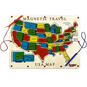 Amazoncom Anatex Magnetic Travel USA Map Toys Games - Us magnetic travel map