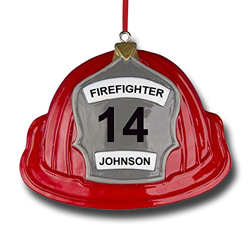 Polar X Personalized Firefighter Helmet Christmas Ornament Gift for Fireman Fire Service Member - Your Choice of Custom Name Fire Station Name and Custom Number