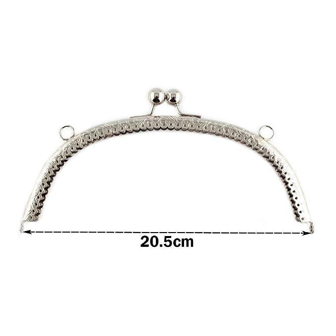 RUBY - Boquilla para bolsos y monederos Cierre de boquilla para bolso Cierre monederos boquilla de bolso para Patchwork (Plateado, 20.5cm)
