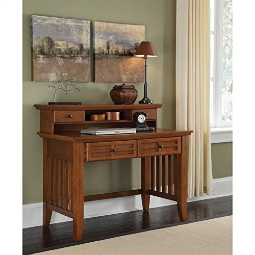 Home Style 5180-162 Arts and Crafts Student Desk and Hutch, Cottage Oak Finish (Style Mission Writing Desk)