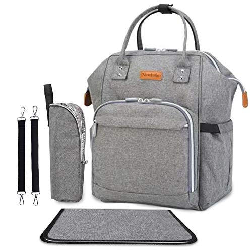 Diaper Bag - Baby Backpack Diaper Bag with Changing Pad and Cooler Pocket - by Pantheon - Baby Diaper Bag for Mom and Dad (Gray)