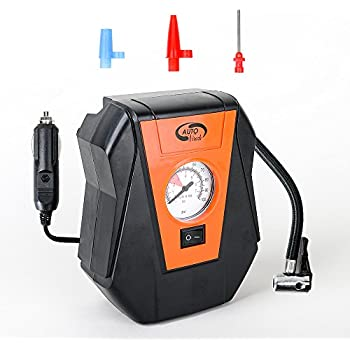 Small Air Compressor Pump: Portable 12V Tire Inflator with Pressure Gauge and Tire Pump-Compressor Tanks with 3 Foot Hose & 3 Universal Nozzle Adapters for ...