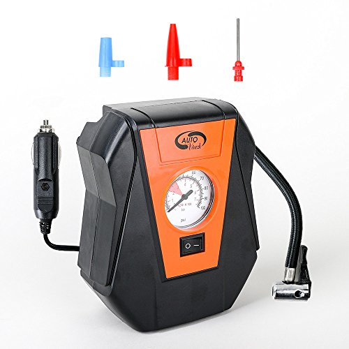 Small Air Compressor Pump: Portable 12V Tire Inflator with Pressure Gauge and Tire Pump-Compressor Tanks with 3 Foot Hose & 3 Universal Nozzle Adapters for Automobiles, Bike Tires & Inflatables