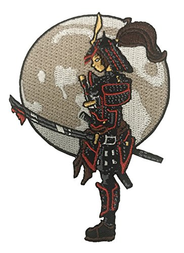 (Hat Shark Lady Samurai Warrior Solemnly Standing in Front of Moon With a Bloody Sword Die Cut 4