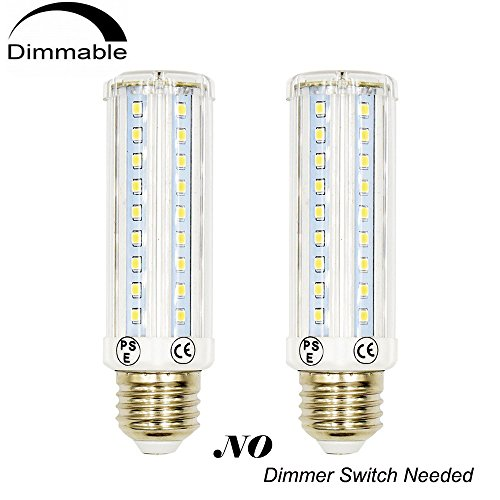 3 Way LED Corn Light Medium E26 Base Bulb Lustaled 10/5/2.5W Dimmable T10 Tubular LED Bulb Lamp 75/35/20W Incandescent Equivalent for Reading Ceiling Pendant Table Light (Daylight 6000K, 2-Pack) (Structures Light Five Chandelier)