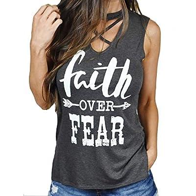 Women Crisscross V Neck Sleeveless Letters Print Tank Top Vest Blouse