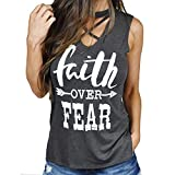 Faith Over Fear Arrow Letters Print T Shirt Sleeveless Casual Tank TopsMaterial:Cotton Blend,Polyester,Soft and ComfortableFeatures:Faith Over Fear Letter Print,Cross Front,Sleeveless,Casual Tank TopsOccasion:Casual,Sports,Beach Or Daily Life...