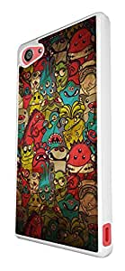 1084 - Cool Fun Multi Monsters Collage Design For Sony Xperia Z4 Compact Fashion Trend CASE Back COVER Plastic&Thin Metal - White