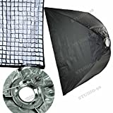 32 X 48 Inch Foldable Umbrella Like Collapsible Rectangular Softbox (80 X 120 Cm) + 40 Degree Grid + Ring For Elinchrom D-Lite RX BRX Style Rx 600 Quadra Hybrid AS RX RQ Hybrid Standard Head Power Pack Zoom Action Head