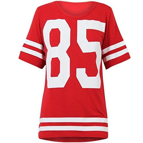 Football Jersey Dress (Genluna Women's Football Jersey T Shirt Top Loose Dress [B6619],Small,Red)