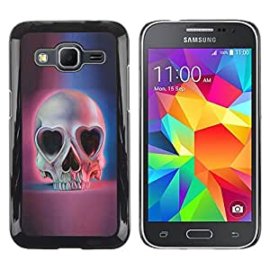 Paccase / SLIM PC / Aliminium Casa Carcasa Funda Case Cover - Love Skull Hearts Eyes Blue Pink Death - Samsung Galaxy Core Prime SM-G360