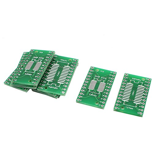 Uxcell a14070800ux0174 10 Piece SSOP-24 0.65 mm SOP-24 1.27 mm to DIP 24Pin 2.54 mm IC PCB Adapter Converter