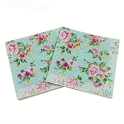 wallye paper napkins for bridal shower tea party birthday or wedding vintage blue floral