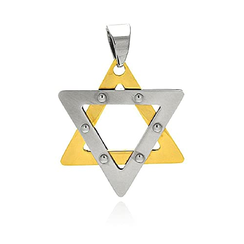 Free 30 Bead Ball Chain Stainless Steel Two Tone Star of David Pendant