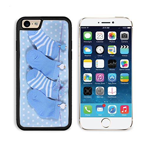 Hanging Blu (Apple iPhone 6 6S Aluminum Case Baby boy nursery blue socks and butterfly hanging from pegs on a line against a blue IMAGE 28242894 by MSD Customized Premium Deluxe Pu Leather generation Accessories H)