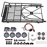 Dilwe RC Car Roof Rack, Metal Roof Rack Luggage Carrier with 4 LED Lights for Axial SCX10 1/10 Scale RC Crawler Car(Black)