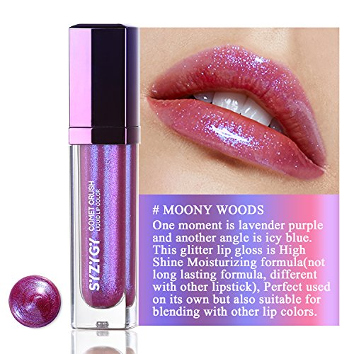 High Shine Liquid Lipstick - SYZYGY Liquid Lipstick, Duochrome Holographic Long Lasting Metallic Lip Color, Iridescent Glitter Lip Gloss (Moony Woods)