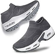YHOON Women's Walking Shoes Slip-on - Sock Sneakers Ladies Nursing Work Air Cushion Mesh Casual Running Jo