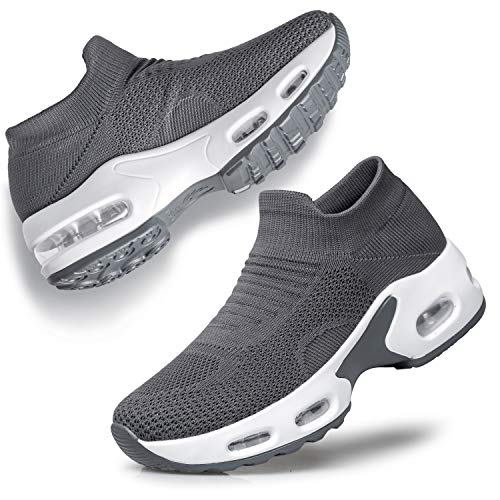 YHOON Women's Walking Shoes Slip-on - Sock Sneakers Ladies Nursing Work Air Cushion Mesh Casual Running Jogging Shoes