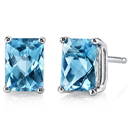 (14 Karat White Gold Radiant Cut 2.25 Carats Swiss Blue Topaz Stud Earrings)