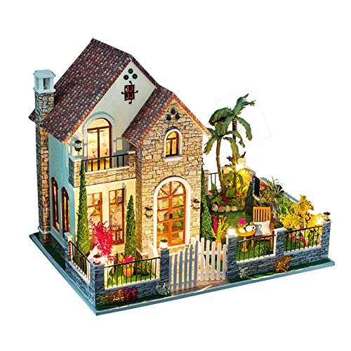 Axiba 3D DIY Dollhouse Wooden Miniature Furniture Kit Mini Green House with LED Best Christmas Gifts for Women and Girls