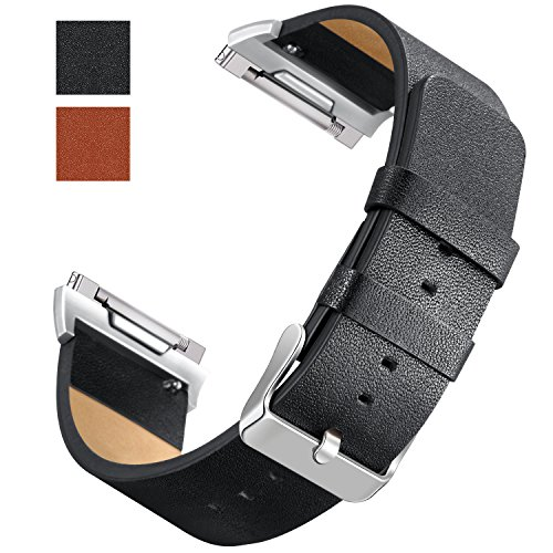 Hotodeal Band Compatible Fitbit Ionic Genuine Leather Bands, Classic Leather Replacement Accessory Strap Smart Watch, Women Men Small Large Black